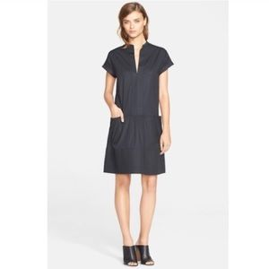 Vince rolled sleeve chambray shirt dress v neck xs